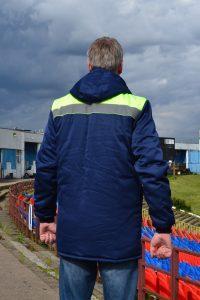 """Куртка зимняя """"ММ9+"""" удлиненная цвет темно-синий с желтым."""